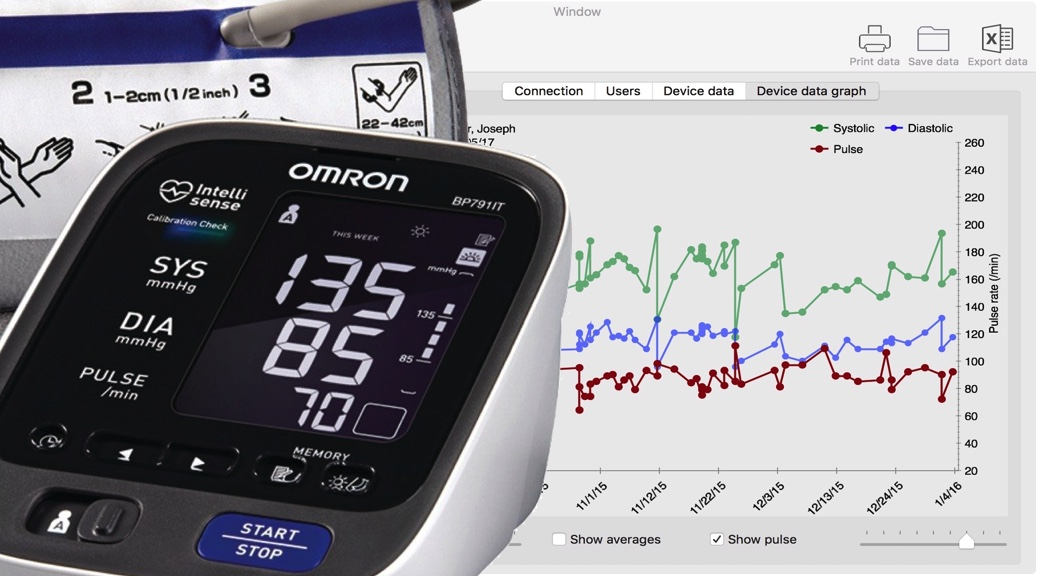 Mac application for Omron blood pressure devices with USB or bluetooth interfaces